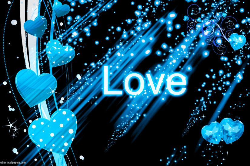 Beautiful black abstract wallpaper with blue love hearts and the text love.  Send this background to your boy or girlfriend, just to say that you are  deeply ...