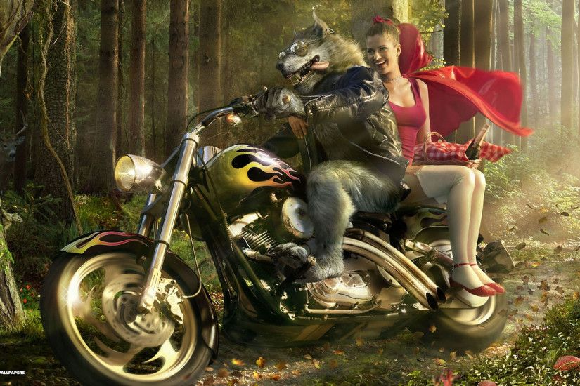 wolf biker and little red riding hood wallpaper | Drawings | Pinterest |  Wolves, Digital art and Photos