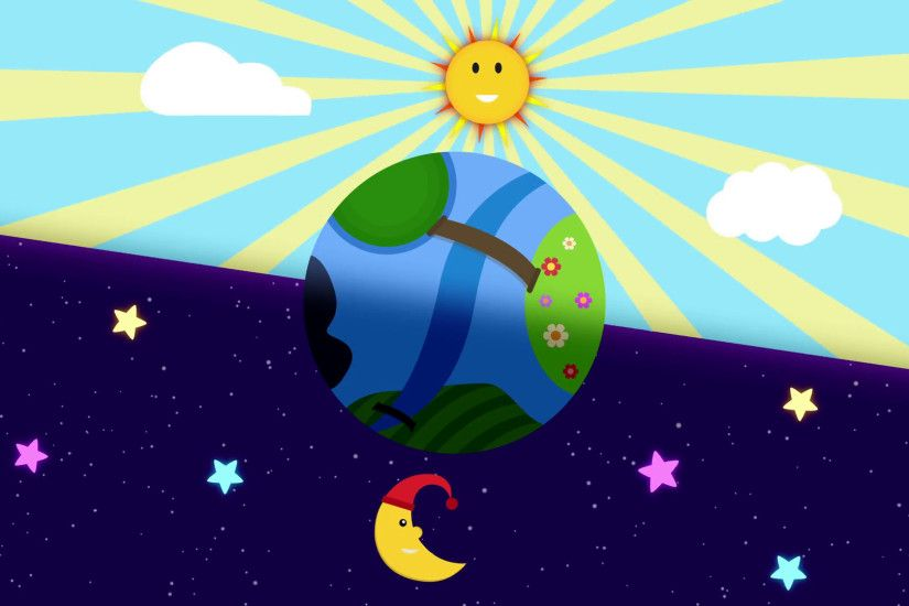 Cute Day and Night concept with funny smiling cartoon characters of Sun and  Moon rotating around