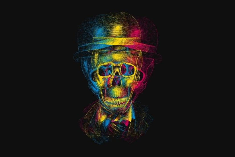Preview wallpaper skull, hat, anaglyph, drawing 2560x1440