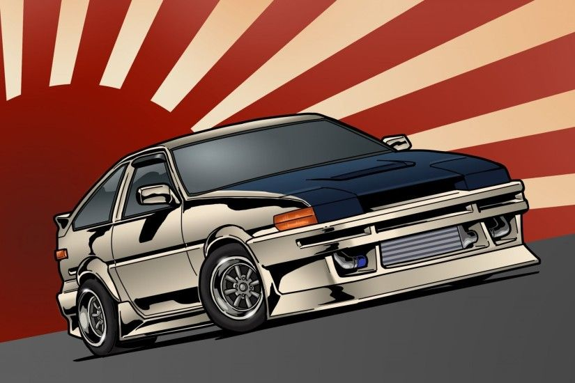 toyota corolla ae86 stance jdm front toyota japan art
