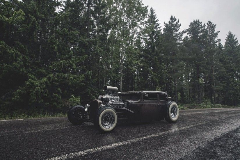 ford rat rod forest rain