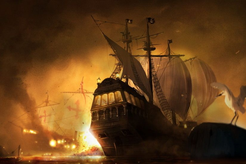Digital Art Pirate Ship Wallpaper 12 Wallpaper