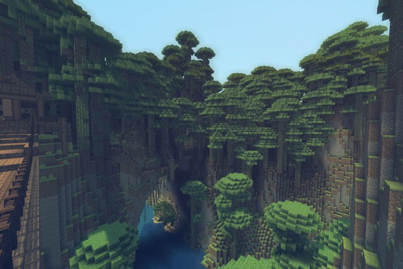 Minecraft Mountain Oasis Wallpaper