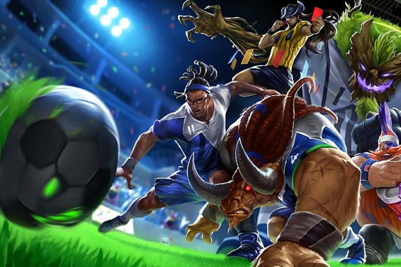 Football Splash Art Alistar, Gragas, Lucian, Maokai and Twisted Fate
