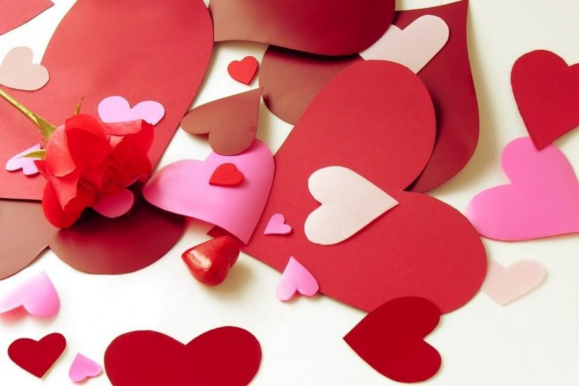 Paper hearts on Valentine's Day February 14