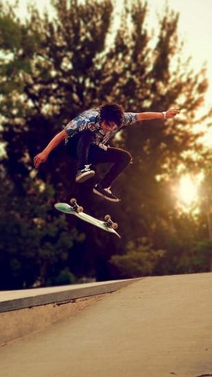 1080x1920 Wallpaper trees, skateboard, boy, skate, street