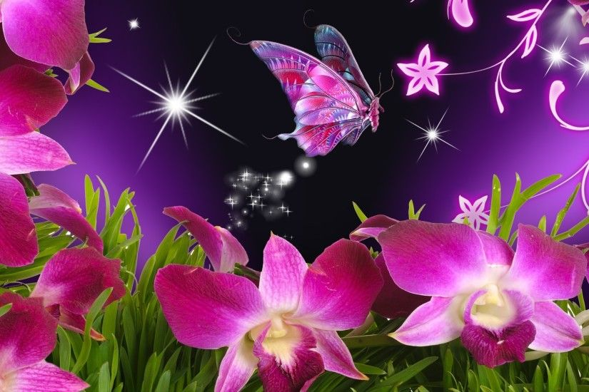 butterflies and flowers | Butterfly Flowers Orchid Purple Stars Vines Free  Hd Wallpapers