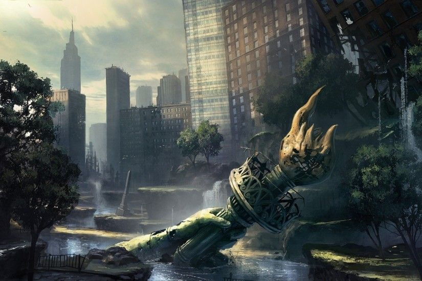 Apocalyptic new york city 101189 widescreen desktop mobile iphone android  hd wallpaper and desktop.