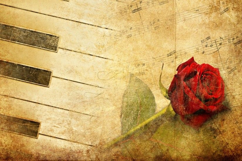 Music - Piano Artistic Sheet Music Flower Rose Wallpaper