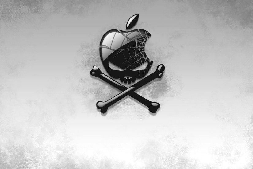 Preview wallpaper black, apple, bones, skull 1920x1080
