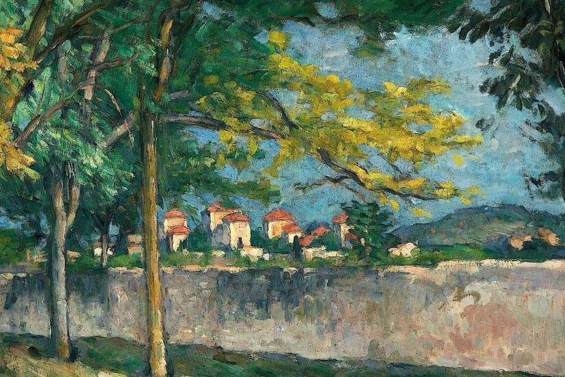 ... The boundary wall (1875-1876) by Paul Cézanne