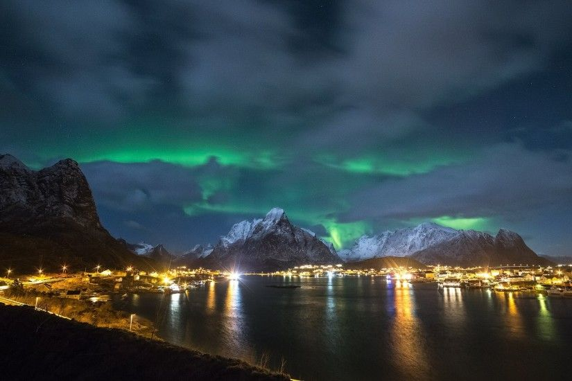 norway lofoten night northern lights