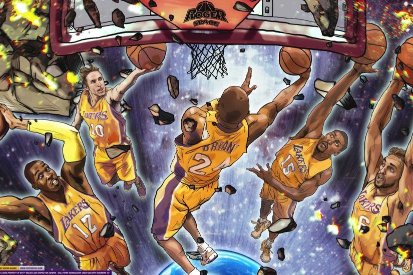 Los Angeles Lakers Starting 5 Wallpaper | Posterizes | NBA .