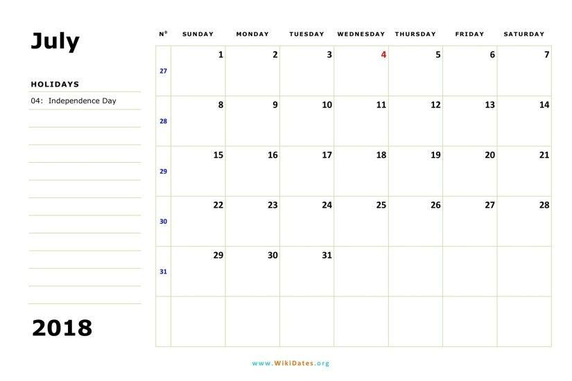 calendar july 2018 template