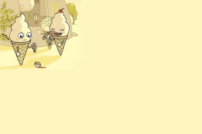 ice cream horn children headless picture yellow background blood humor