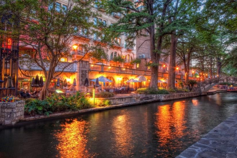 Preview wallpaper san antonio, texas, sunset, beach, river, cafes 2048x2048