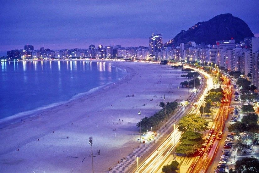 Rio de Janeiro Beach Night Wallpaper - Free Download Wallpaper .