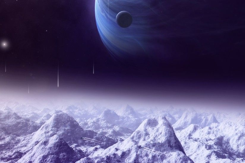 Wallpaper Planets Space Fantasy Mountains 3D Graphics Snow 2048x1536