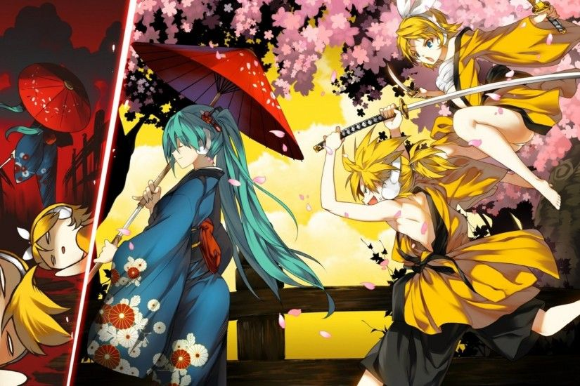 vocaloid hatsune miku kagamine rin kagamine len umbrellas japanese clothes  1680x1050 wallpaper Art HD Wallpaper