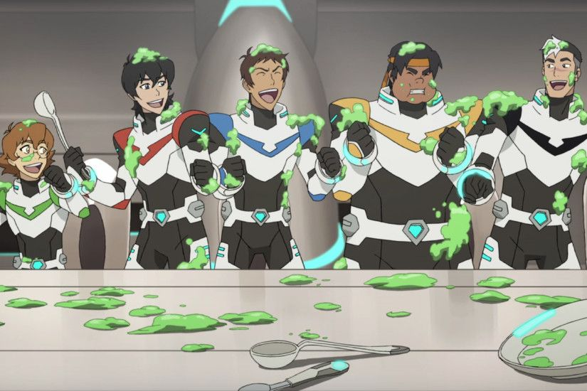 Pidge, Keith, Lance, Hunk and Shiro laughing food goo fight from Voltron  Legendary