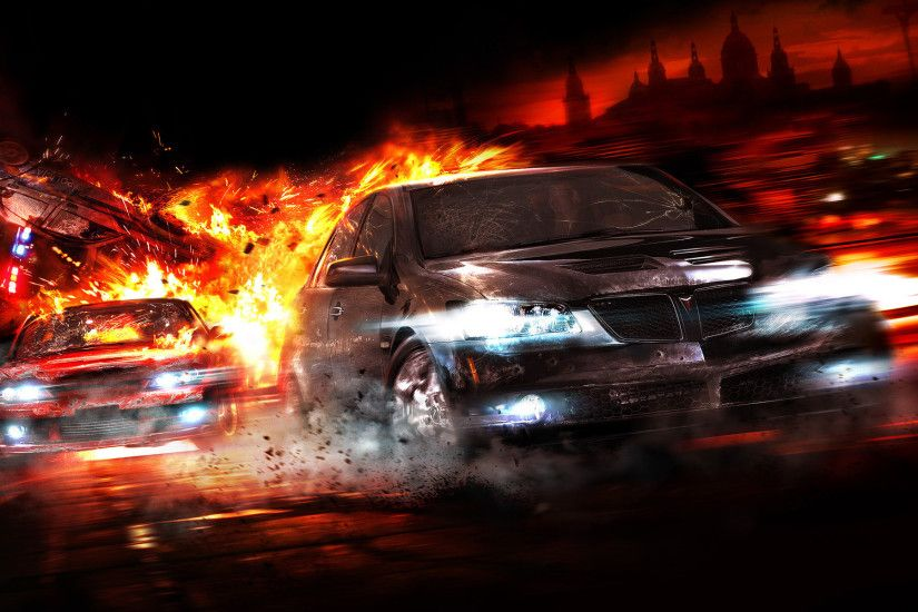 Cars Explosions Pontiac Police Cars Wallpaper At 3d Wallpapers