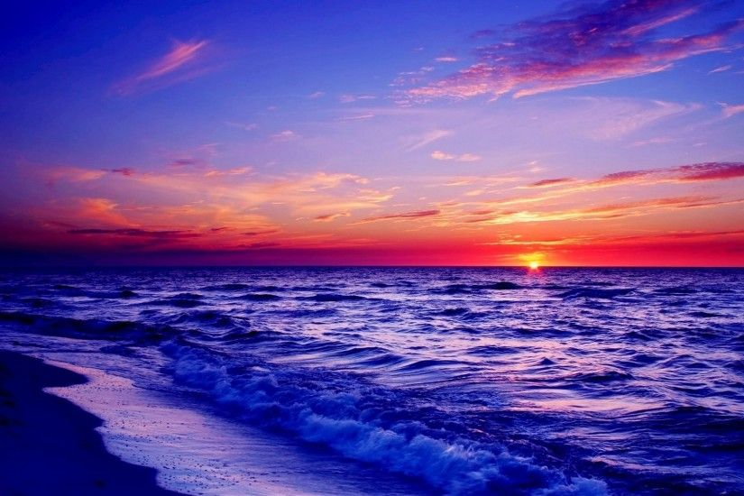 Wondrous Sea Beach Purple Sunset Beautiful Desktop Wallpaper Detail