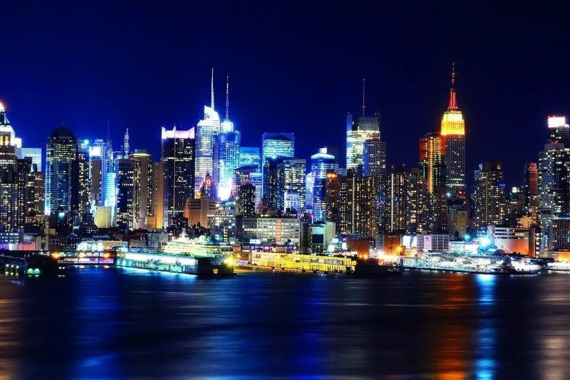 Preview wallpaper new york, night, lights, river, reflection 1920x1080