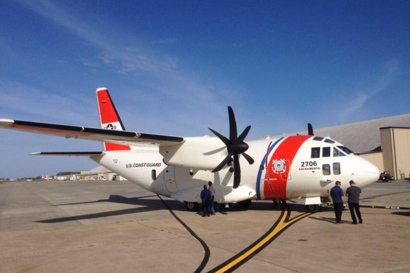 The newly painted U.S.Coast Guard C-27J Spartan heading to Air Station  Sacramento.