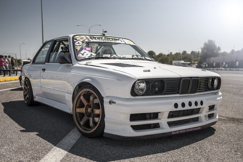bmw e30 white drift car