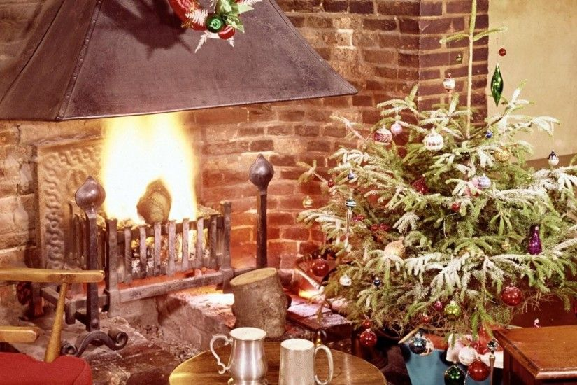 1920x1080 Wallpaper christmas tree, fireplace, fire, holiday, christmas