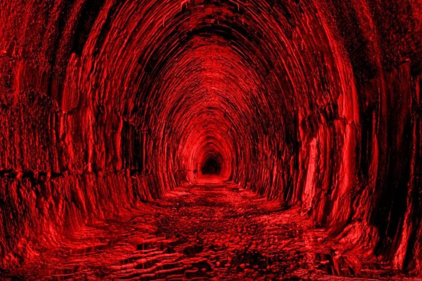 Download 1920x1080 Tunnel, Red, Black, Light Wallpaper, Background .
