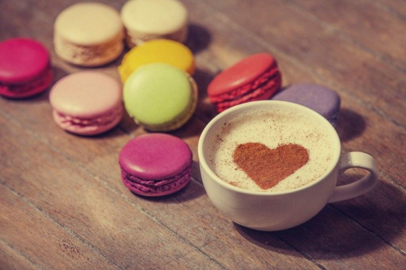 cup coffee love heart milk cocoa sweets cookies dessert love heart coffe macaroon  macaron food dessert