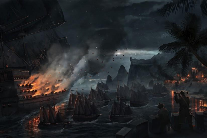 Cannons Fantasy Artwork Night Pirate Ship Wallpaper