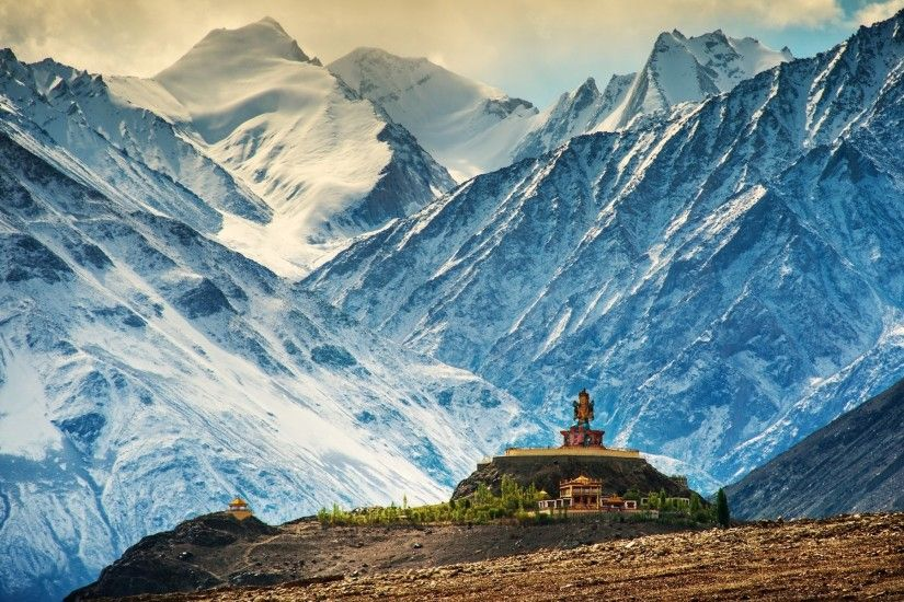 Buddha, Nature, Landscape, Architecture, Trees, Building, Himalayas, India,