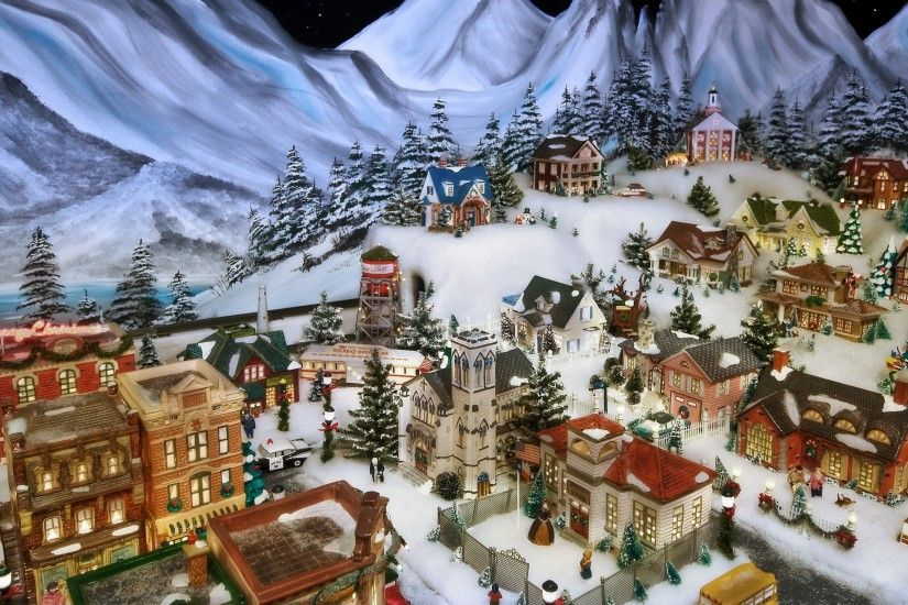 Christmas Eve in the Little Village Wallpaper