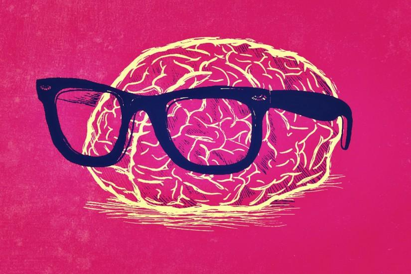 Humor - Brain Geek Nerd Red Wallpaper