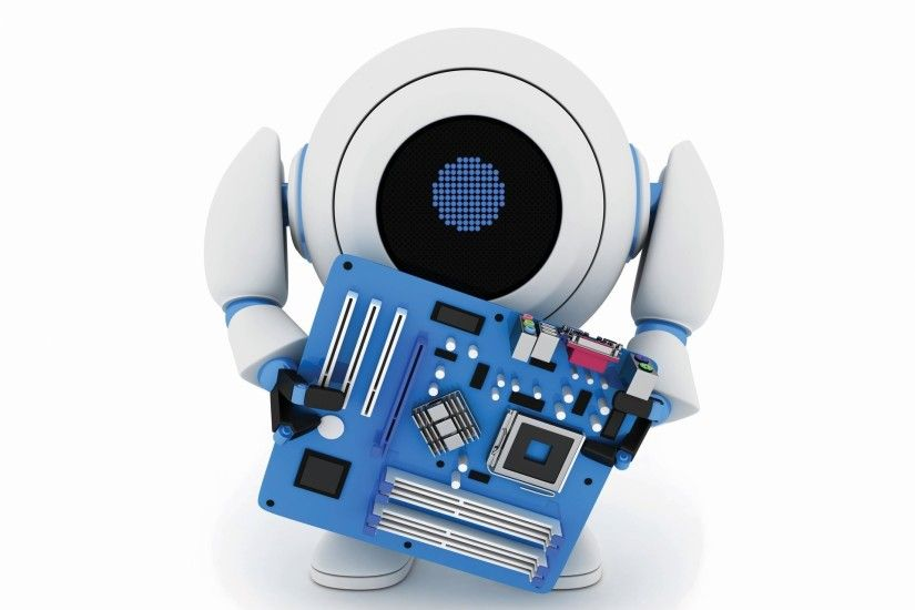 art robots android robot android holds processor processor microchip board  abstract 3d wallpaper.