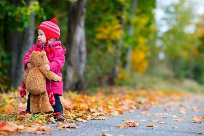 Child Bear Toy Autumn Leaves Nature Wallpaper | HD Cute Wallpaper Free  Download ...