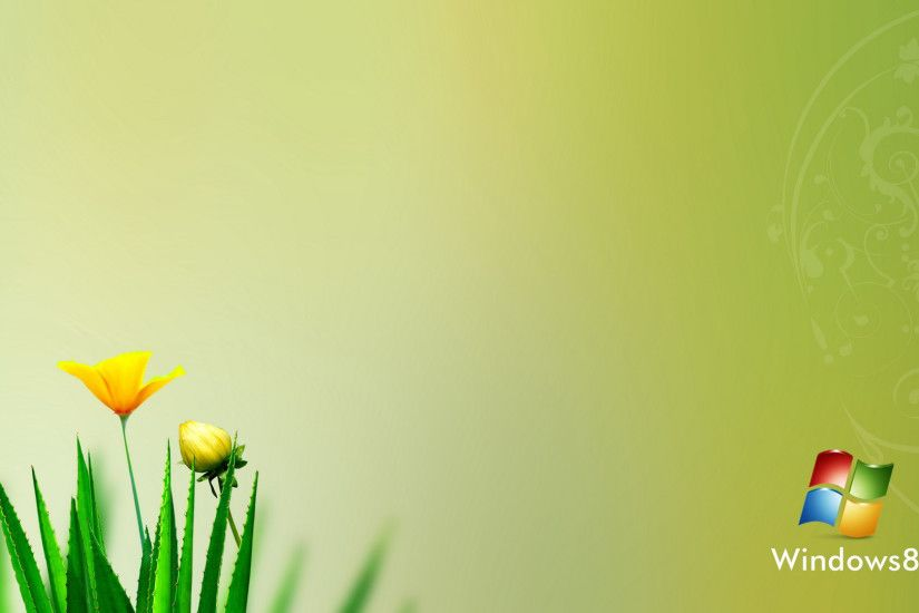 Windows 8 Flowers Logo Desktop Wallpaper