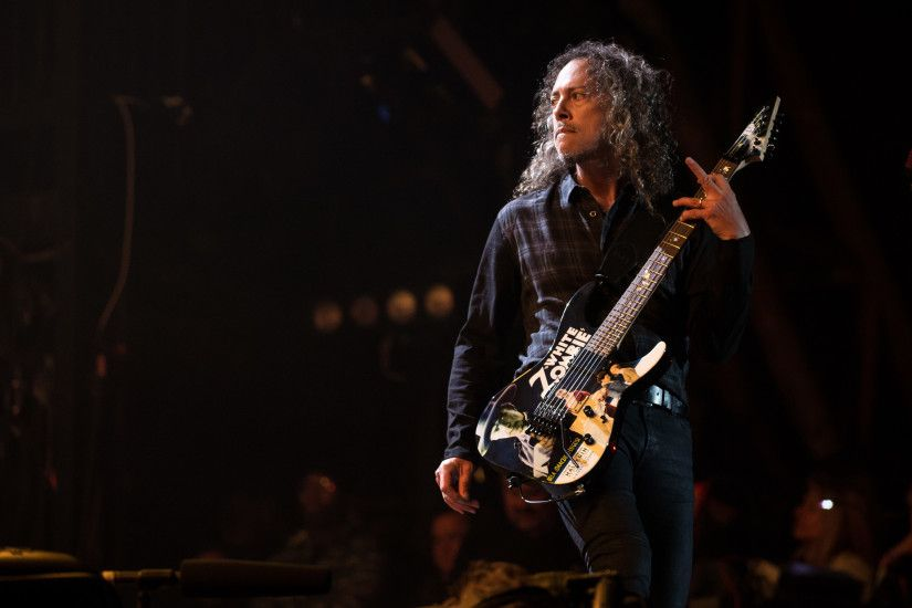 GLASTONBURY, ENGLAND - JUNE 28: Kirk Hammett of Metallica performs on the  Pyramid stage