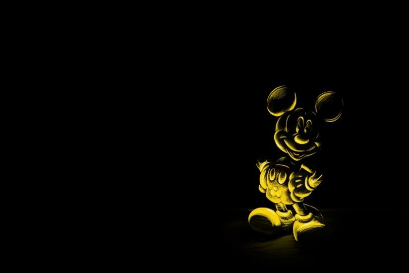 1920x1080 Wallpaper cartoon, black background, character, mickey mouse,  mouse