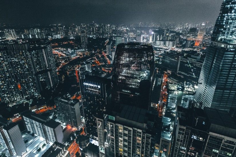 3840x2160 Wallpaper skyscrapers, night, top view, city lights, metropolis