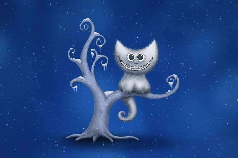 digital Art, Minimalism, Cheshire Cat, Snow, Trees, Blue Background,  Vladstudio Wallpaper HD