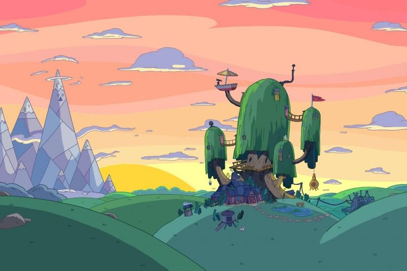 Adventure Time background art, landscape with the tree house in foreground,  ice kingdom in distance. I love the bridges between the tree branches and  the ...