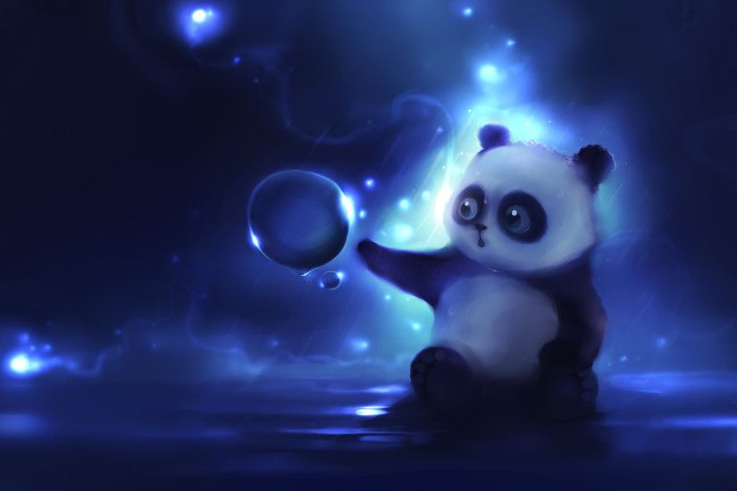 Preview wallpaper panda, art, apofiss, night 1920x1080