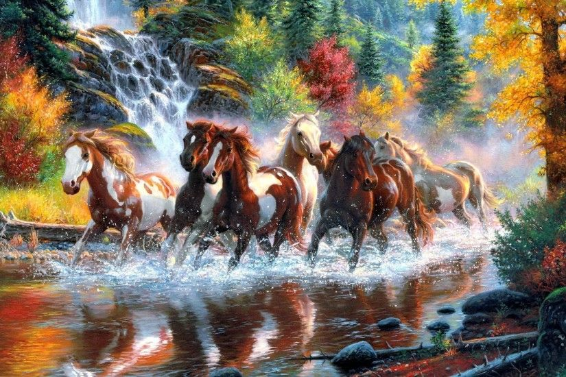 <b>horse fall</b> waterfall <b>Wallpapers</