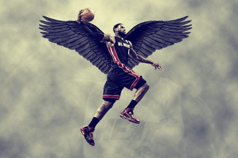 3840x2160 Wallpaper lebron james, miami heat, wings, sky, basketball