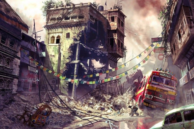 Wallpaper Uncharted, City, Bus, Car, Destruction