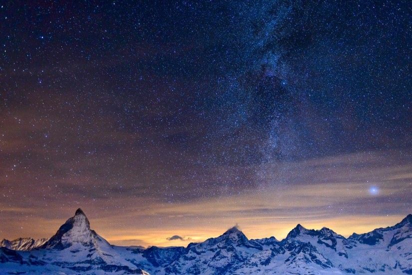 Night The Mountains The Sky Stars